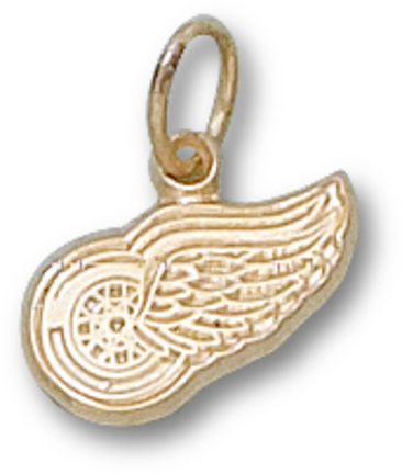 """Detroit Red Wings 1/4"""" Logo Charm - 10KT Gold Jewelry"""