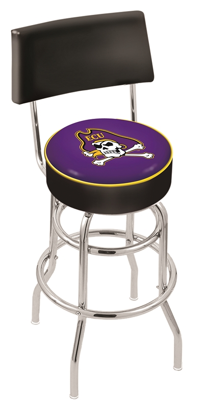 """East Carolina Pirates (L7C4) 25"""" Tall Logo Bar Stool by Holland Bar Stool Company (with Double Ring Swivel Chrome Base and Chair Seat Back)"""