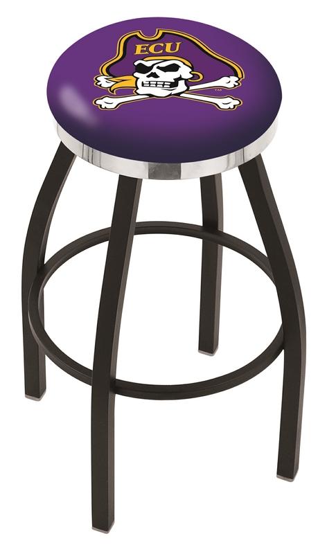 "East Carolina Pirates (L8B2C) 30"" Tall Logo Bar Stool by Holland Bar Stool Company (with Single Ring Swivel Black Solid Welded Base)"