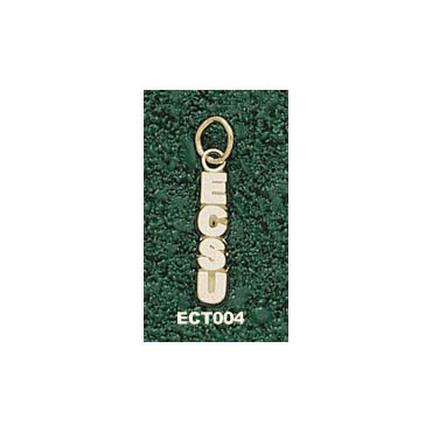 """Eastern Connecticut State Warriors Vertical """"ECSU"""" Charm - 14KT Gold Jewelry"""