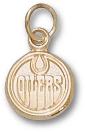 "Edmonton Oilers 3/8"" Round Logo Charm - 10KT Gold Jewelry"