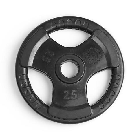 Element Fitness E-3763 2 in. Virgin Rubber Commercial Olympic 3 Grip Handle Plate - Black