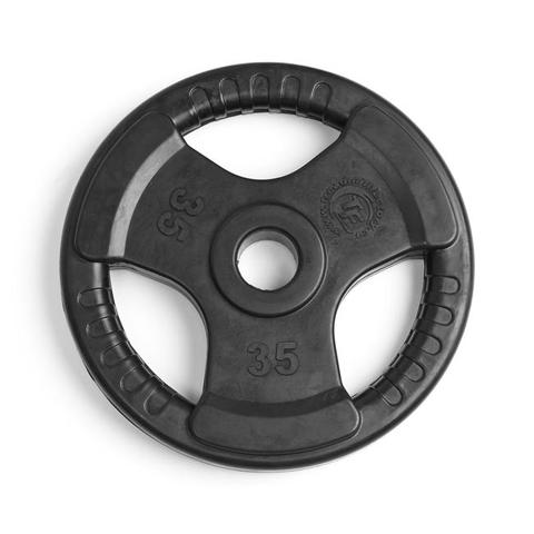 Element Fitness E-3764 2 in. Virgin Rubber Commercial Olympic 3 Grip Handle Plate - Black