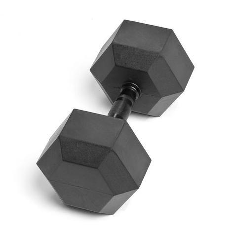 Element Fitness E-3882 Low Odor Virgin Rubber Commercial Hex Dumbbells - Black