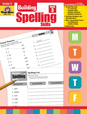 Evan Moor Educational Publishers 2707 Building Spelling Skills Grade 3