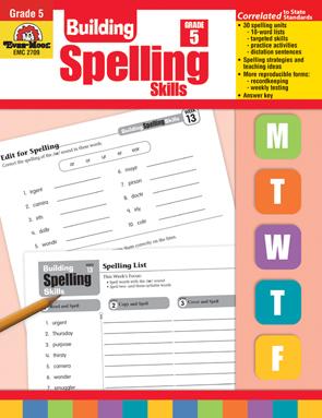 Evan Moor Educational Publishers 2709 Building Spelling Skills Grade 5