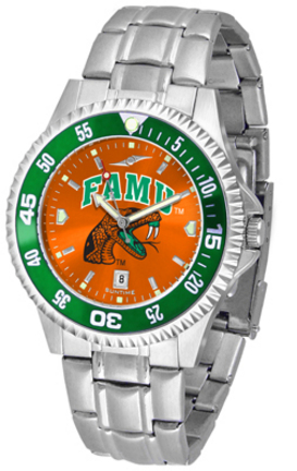 Florida A & M Rattlers Competitor AnoChrome Men's Watch with Steel Band and Colored Bezel