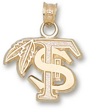 """Florida State Seminoles 1/2"""" """"FS with Feather"""" Pendant - 10KT Gold Jewelry"""