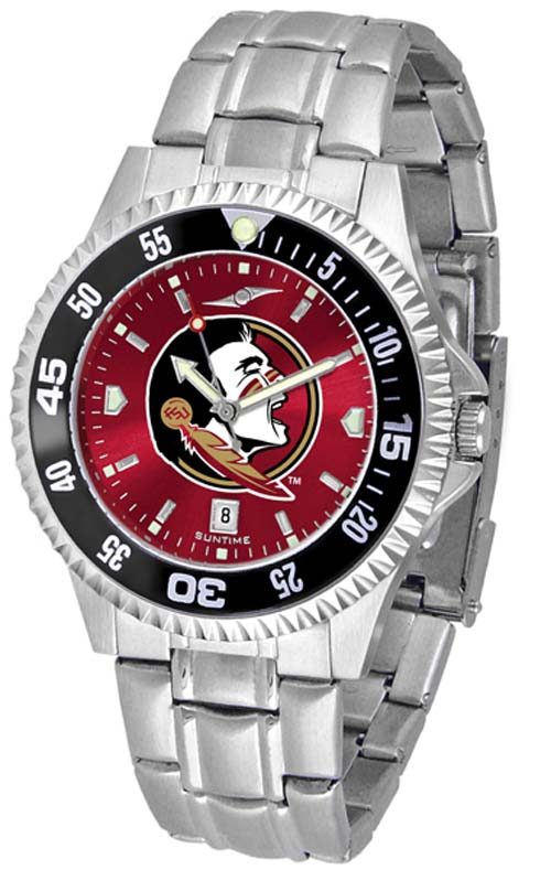 Florida State Seminoles Competitor AnoChrome Men's Watch with Steel Band and Colored Bezel
