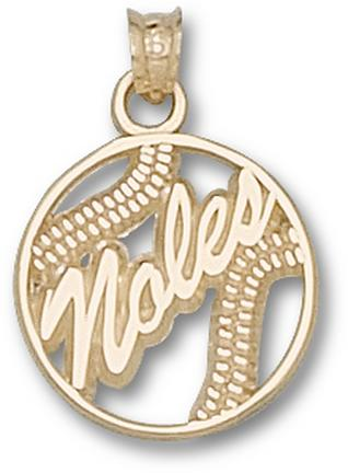 "Florida State Seminoles ""Noles"" Pierced Baseball Pendant - 10KT Gold Jewelry"
