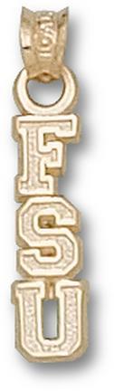 "Florida State Seminoles Vertical ""FSU"" Pendant - 14KT Gold Jewelry"