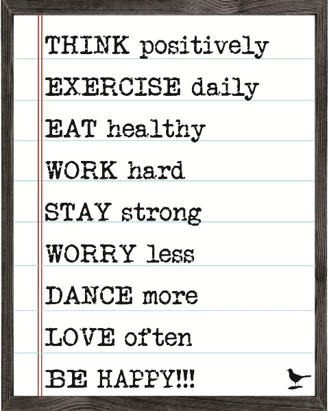Forest Creations MAP23 Magnet Art Print - Think Positively Exercise Daily Eat Healthy.