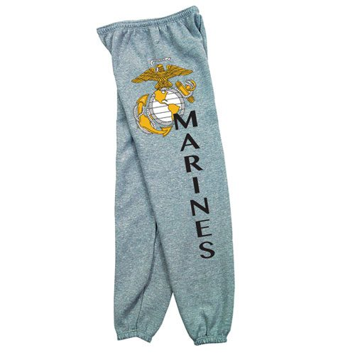 Fox Outdoor 64-762 L Mens Marines With Logo One Sided imprint Sweatpant Heather Grey - Large
