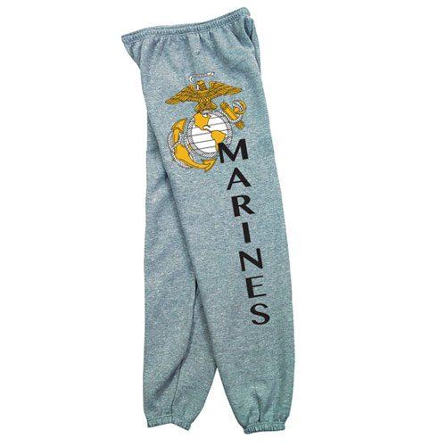 Fox Outdoor 64-762 M Mens Marines With Logo One Sided imprint Sweatpant Heather Grey - Medium