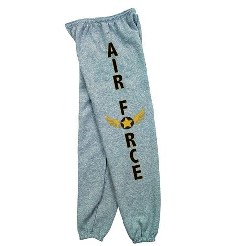 Fox Outdoor 64-787 XL Mens Air Force Wings One Sided imprint Sweatpant Heather Grey - Extra Large