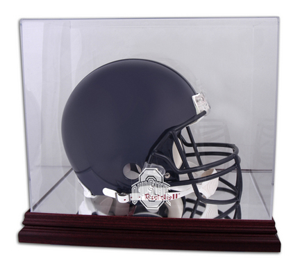 Full Size Football Helmet Display Case with Mahogany Finished Base and Ohio State Buckeyes Logo