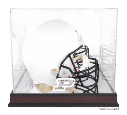 Full Size Football Helmet Display Case with Mahogany Finished Base and Purdue Boilermakers Logo