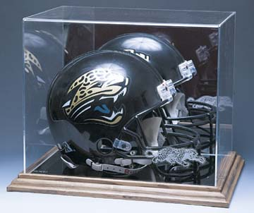 Full Size Football Helmet Display Case with Mirrored Back (Wood Base)