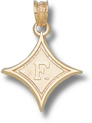"Furman Paladins ""Diamond with F"" 5/8"" Pendant - 14KT Gold Jewelry"