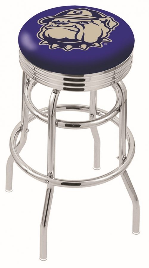 """Georgetown Hoyas (L7C3C) 30"""" Tall Logo Bar Stool by Holland Bar Stool Company (with Double Ring Swivel Chrome Base)"""