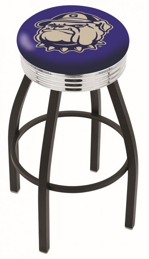 """Georgetown Hoyas (L8B3C) 25"""" Tall Logo Bar Stool by Holland Bar Stool Company (with Single Ring Swivel Black Solid Welded Base)"""