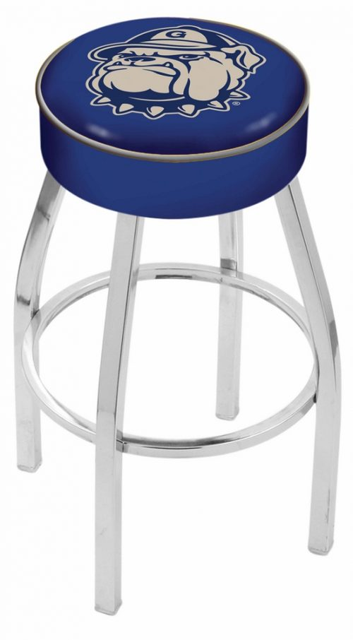"""Georgetown Hoyas (L8C1) 30"""" Tall Logo Bar Stool by Holland Bar Stool Company (with Single Ring Swivel Chrome Solid Welded Base)"""