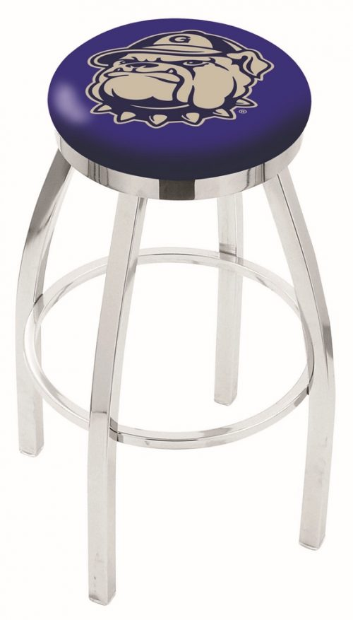 """Georgetown Hoyas (L8C2C) 30"""" Tall Logo Bar Stool by Holland Bar Stool Company (with Single Ring Swivel Chrome Solid Welded Base)"""