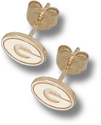 "Georgia Bulldogs 1/8"" ""G"" Post Earrings - 14KT Gold Jewelry"