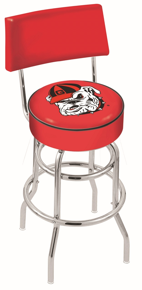 """Georgia Bulldogs (L7C4) 25"""" Tall Logo Bar Stool by Holland Bar Stool Company (with Double Ring Swivel Chrome Base and Chair Seat Back)"""