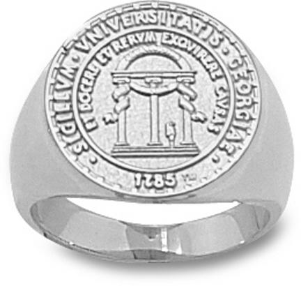 """Georgia Bulldogs """"Seal"""" 5/8"""" Ladies' Ring Size 6 1/2 - Sterling Silver Jewelry"""