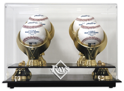 Golden Classic 4-Baseball Display Case with Tampa Bay Rays Logo
