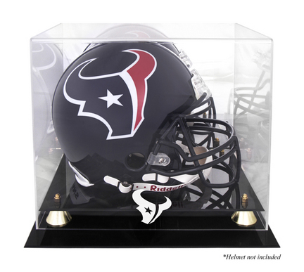 Golden Classic Football Helmet Display Case with Houston Texans Logo