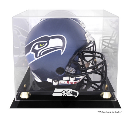 Golden Classic Football Helmet Display Case with Seattle Seahawks Logo