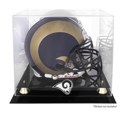 Golden Classic Football Helmet Display Case with St. Louis Rams Logo