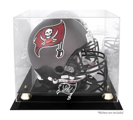 Golden Classic Football Helmet Display Case with Tampa Bay Buccaneers Logo