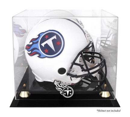 Golden Classic Football Helmet Display Case with Tennessee Titans Logo