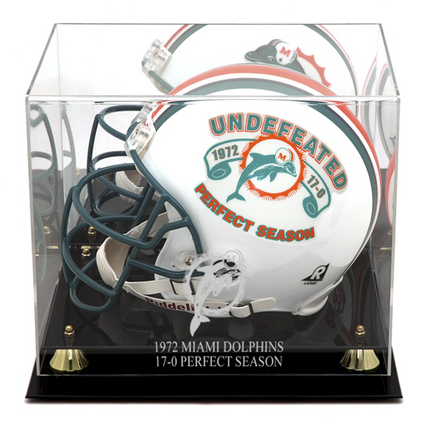 Golden Classic Full Size Helmet Display Case with 1972 Miami Dolphins Perfect Season Logo