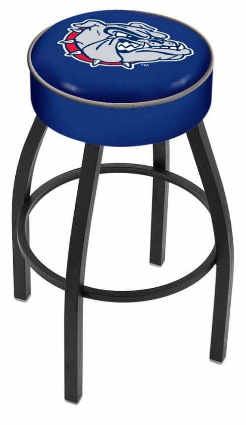 "Gonzaga Bulldogs (L8B1) 25"" Tall Logo Bar Stool by Holland Bar Stool Company (with Single Ring Swivel Black Solid Welded Base)"