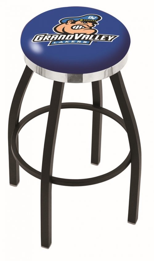 """Grand Valley State Lakers (L8B2C) 25"""" Tall Logo Bar Stool by Holland Bar Stool Company (with Single Ring Swivel Black Solid Welded Base)"""
