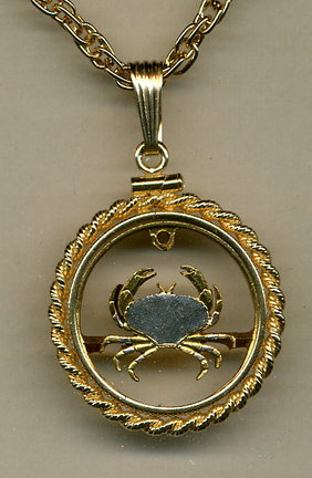 """Guernsey Penny """"Crab"""" Copper Two Tone Coin Cut Out Pendant with 18"""" Chain and Rope Bezel"""