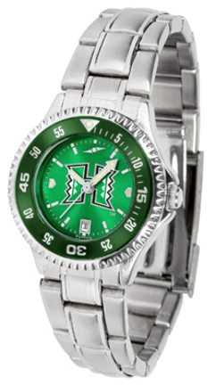 Hawaii Rainbow Warriors Competitor AnoChrome Ladies Watch with Steel Band and Colored Bezel