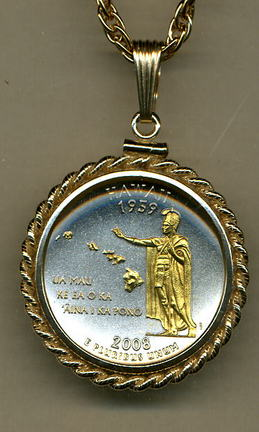 "Hawaii Two Tone Rope Bezel Statehood Quarter Pendant with 18"" Rope Necklace"