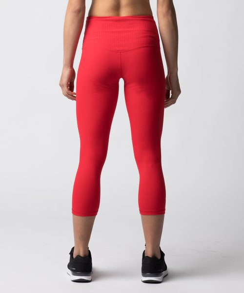 HollowRock Gear WAB0156S Womens Vault High Waist Laser Cut Capri Red - Small