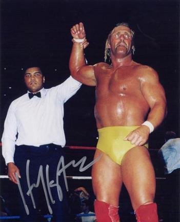 "Hulk Hogan Autographed ""with Muhammad Ali"" 8"" x 10"" Photograph (Unframed)"