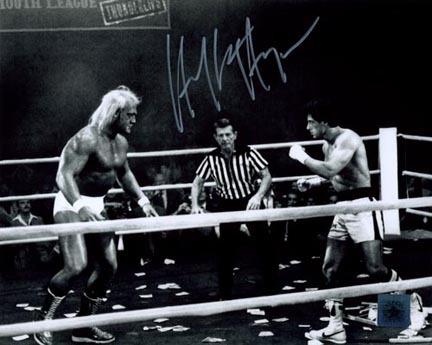 "Hulk Hogan ""Thunderlips"" Autographed 8"" x 10"" Photograph (Unframed) with Sylvester Stallone ""Rocky Balboa"""