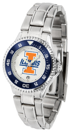 Illinois Fighting Illini Competitor Ladies Watch with Steel Band