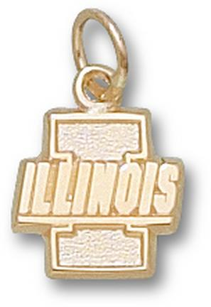 "Illinois Fighting Illini ""I with Illinois"" 7/16"" Charm - 14KT Gold Jewelry"