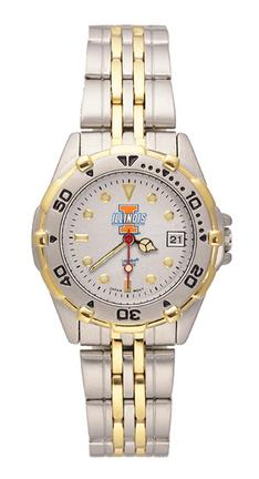 """Illinois Fighting Illini """"I with Illinois"""" All Star Watch with Stainless Steel Band - Women's"""