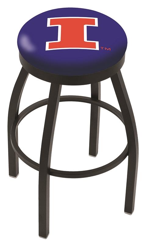 "Illinois Fighting Illini (L8B2B) 30"" Tall Logo Bar Stool by Holland Bar Stool Company (with Single Ring Swivel Black Solid Welded Base)"