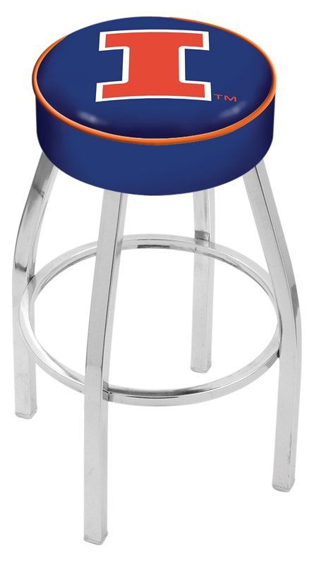 """Illinois Fighting Illini (L8C1) 25"""" Tall Logo Bar Stool by Holland Bar Stool Company (with Single Ring Swivel Chrome Solid Welded Base)"""